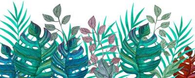 Naklejka Tropical leaves. Watercolor drawing. Green color.