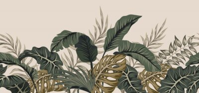 Naklejka Tropical palm leaves, jungle leaves seamless vector floral pattern background.