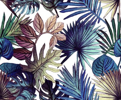 Naklejka Tropical pattern painted with shiny paints.  rose gold tropical leafs