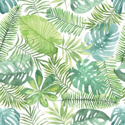 Naklejka Tropical szwu z liści. Akwarela z tropikalnych liści.