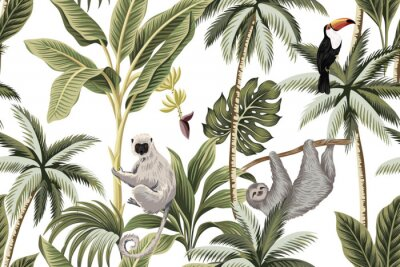 Naklejka Tropical vintage animals, toucan, palm trees, banana tree floral seamless pattern white background. Exotic jungle wallpaper.