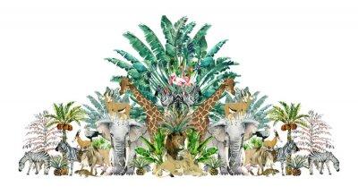Naklejka Tropical vintage botanical island. Watercolor border with safari animals and palm trees. Exotic jungle wallpaper.