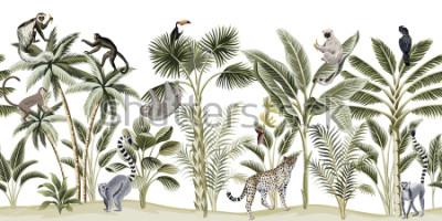 Naklejka Tropical vintage botanical landscape, palm tree, banana tree, plant, sloth, monkey, leopard, lemur, parrot, toucan floral seamless pattern white background. Exotic green jungle animal wallpaper.