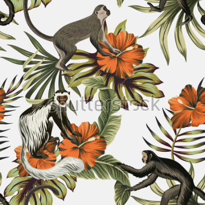 Naklejka Tropical vintage monkey, red hibiscus flower, palm leaves floral seamless pattern white background. Exotic jungle wallpaper.