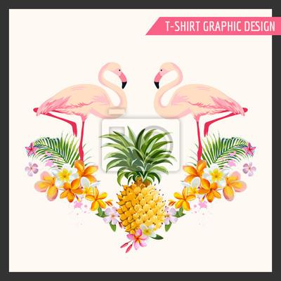 Naklejka Tropikalne kwiaty i Flamingo Graphic Design - dla t-shirt, moda