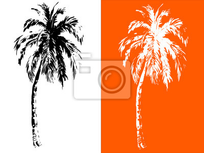 Tropikalne palmy, czarne sylwetki na białym tle. białe sylwetki na pomarańczowym tle. Wektor, wyciągnąć rękę
