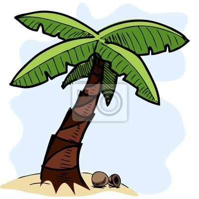 Tropikalne palmy kolorowych ilustracji szkic