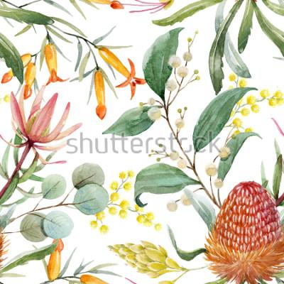 Naklejka Tropikalny kwiatowy print, pomarańczowe kwiaty Bangsia, liście eukaliptusa, liście protea, kwitnące mimozy, tropikalne tapety