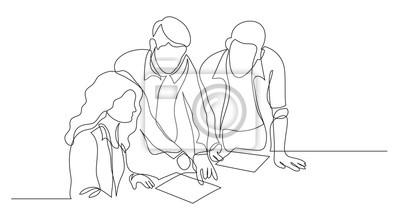 Naklejka trzech współpracowników omawiających projekt na papierze - jeden rysunek linii