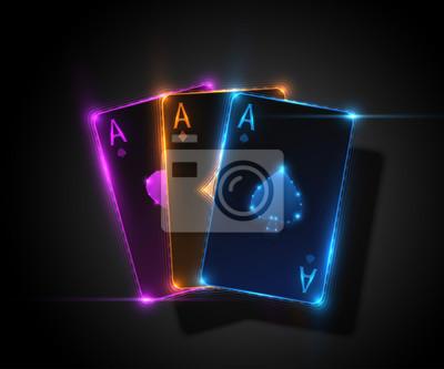 Naklejka Trzy as karty, ilustracji pokera kasyna. Grafika wektorowa.
