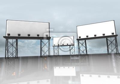 trzy jasne budowy billboardy z reflektorami