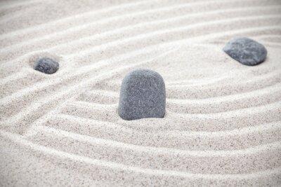 Naklejka Trzy kamienie w piasku, zen koncepcji