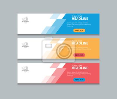Naklejka trzy kolorowe abstrakcyjne banner internetowy szablon projektu