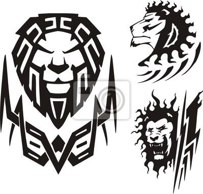 Trzy rysunki Lwa. Tribal drapieżników.