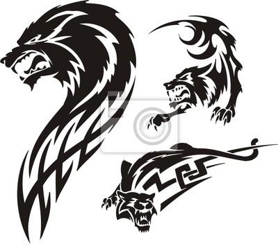 Trzy rysunki wilka. Tribal drapieżników.