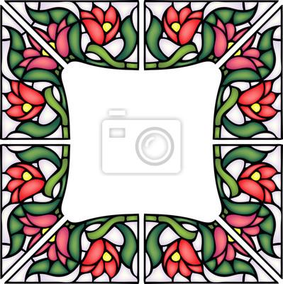 Naklejka Tulip płytki styl ramki, turecki tradycyjnej dekoracje kwiatowe, wektor