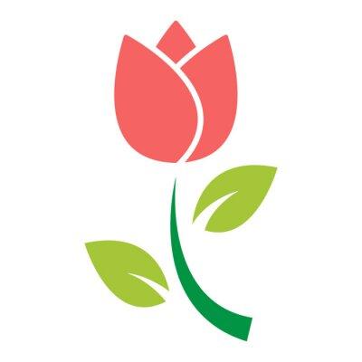 Naklejka tulipan kwiat ikona wektor