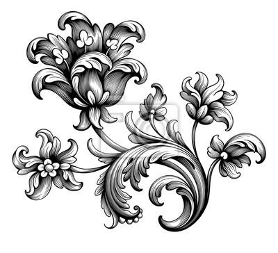 Tulipan piwonia kwiat vintage barokowy wiktoriański rama granicy kwiatowy ornament liść przewijania grawerowane retro wzór dekoracyjny projekt tatuaż czarno-biały filigran wektor kaligrafii