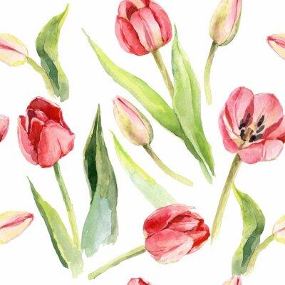 Naklejka tulipany kwiat akwarela wzór ilustracja tekstylny druk