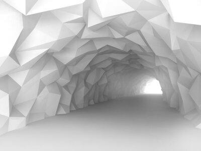 Naklejka Tunel wnętrze z chaotycznym wielokąta ulgi ścian
