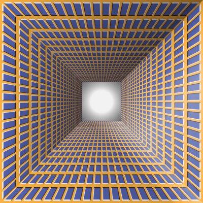 Naklejka Tunel ze ścianami kratkę. Abstrakcyjne tło z iluzji optycznej ruchu.