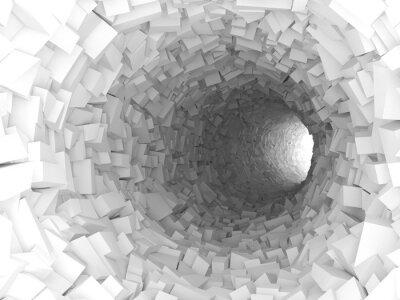 Naklejka Tunel ze ścianami wykonanymi z chaotycznym 3D bloków