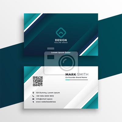 turquoise geometric business card design