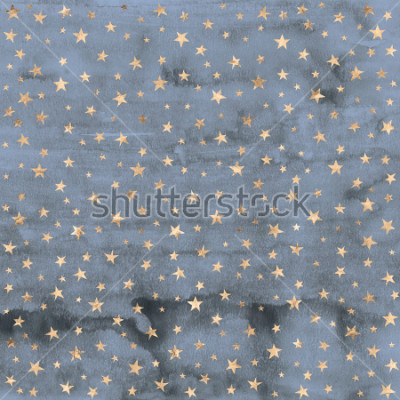 Naklejka Twinkle star pattern in rose gold metallic foil overlaid on denim blue hand painted watercolor texture.