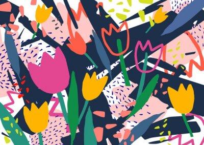 Naklejka Twórczy poziomy tło z kwiatów tulipanów i kolorowe abstrakcyjne plamy i kulas. Jasne kolorowe tło dekoracyjne. Modny artystyczny ilustracji wektorowych w stylu współczesnej sztuki.