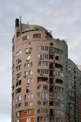 typical concrete residential building in eastern europe