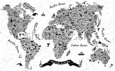 Naklejka Typography World Map. Travel  Poster with cities and sightseeing attractions. Inspirational Vector Illustration.