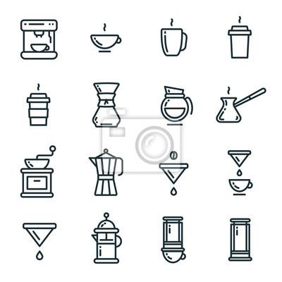 Typy kawiarni Piwowarski kontur linii prostej Ikona obrysu Zestaw ikon symboli piktogramu
