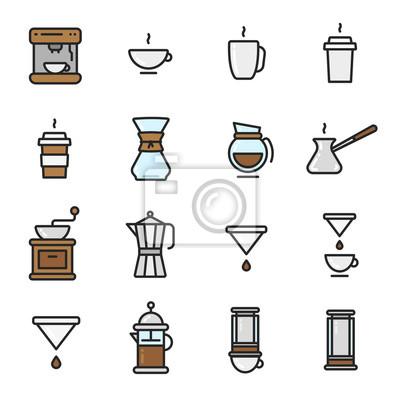Typy kawy Piwowarski płaski kolor linii konspektu Ikona skoku ikona Piktogram Zestaw kolekcji