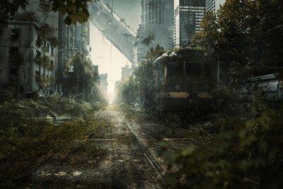 Naklejka Überwuchte Endzeit Stadtszene