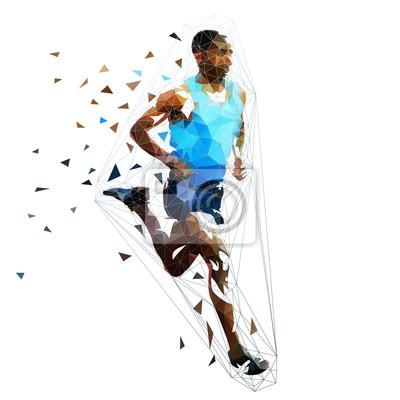 Uciekinier, niska wielokątna kolorowa ilustracja. Wektor geometryczny biegacz. Widok z boku