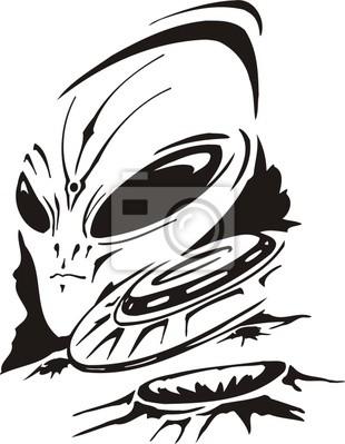 UFO przeciwko głowie obcego.