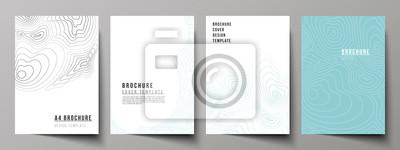 Naklejka Układ wektorowy nowoczesnych makiet okładek formatu A4 szablonów do broszury, czasopisma, ulotki, broszury, raportu rocznego. Mapa konturowa topograficzna, streszczenie tło monochromatyczne.
