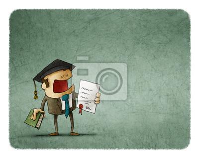 Naklejka Ukończył absolwent z pracy dyplomowej i książki