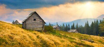 Naklejka Ukraińskie drewniane domy