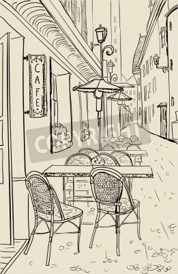 Naklejka Ulica kawiarnia w starym miastem szkic ilustracji.