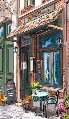 Naklejka Ulica w Paryżu - ilustracja