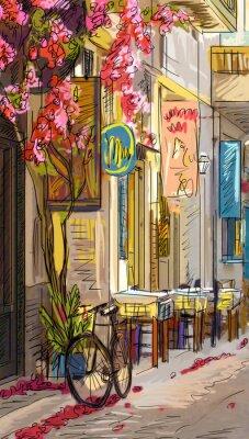Naklejka Ulica w Rzymie - ilustracji