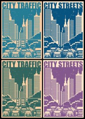 Naklejka Ulice miasta retro plakaty