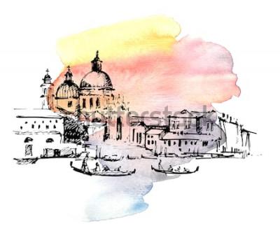 Naklejka Ulicy w Wenecja z gondolą, Włochy. Ręcznie rysowane szkic na kolorowe tło akwarela.