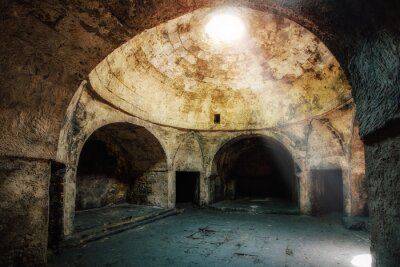 Naklejka Under dome of old abandoned building in oriental style