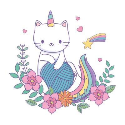 Naklejka Unicorn cat cartoon vector design