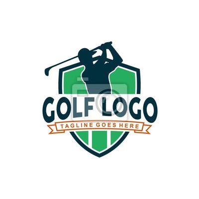 Naklejka Unikalne logo golfa o minimalistycznych kształtach i kolorach