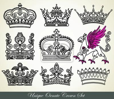 unikalny zestaw korony ozdobne heraldyczny