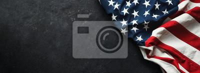 Naklejka United States Flag On Black Background