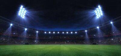 Naklejka universal grass field stadium illuminated by spotlights and empty green grass playground, grand sport building digital 3D background advertisement background illustration